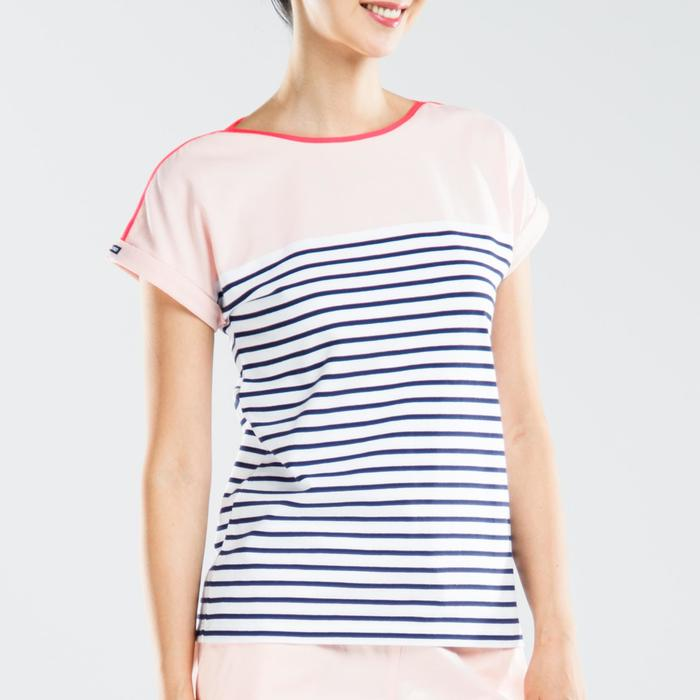 100 Adventure Women's Short-sleeved Sailing T-Shirt White pink
