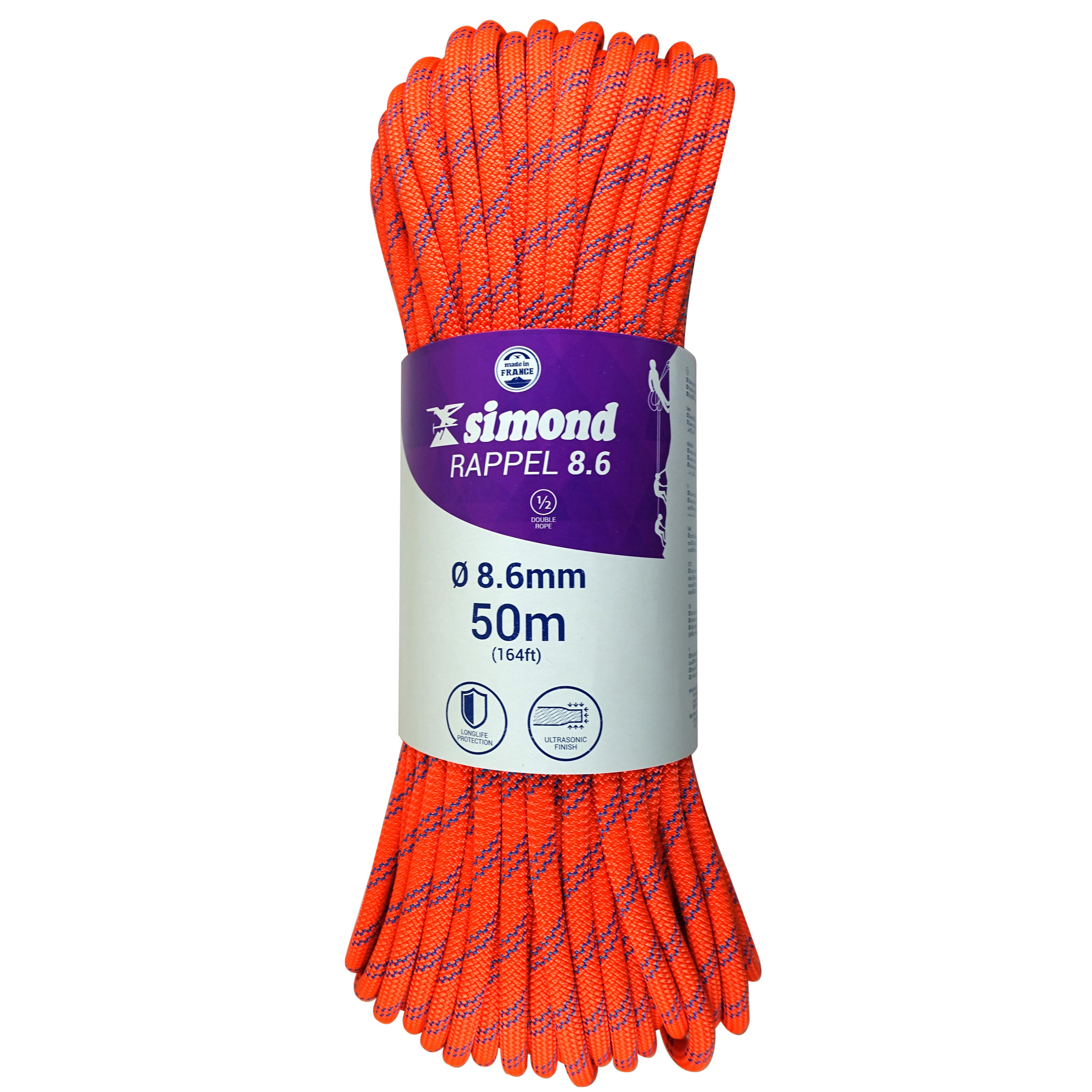 Rappelling Rock Climbing Half Rope - Orange 8.6 mm x 50 m