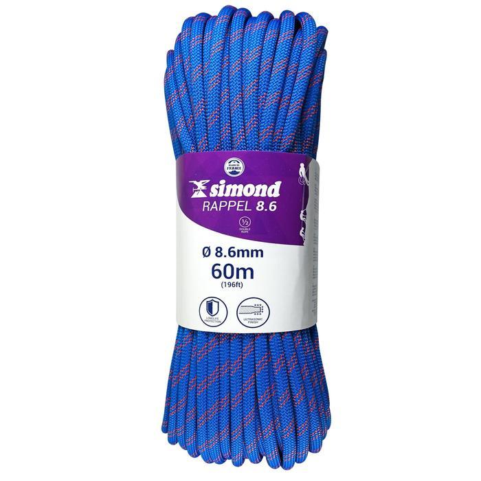 Corde à double d'escalade Rappel 8.6mm x 60m Bleu