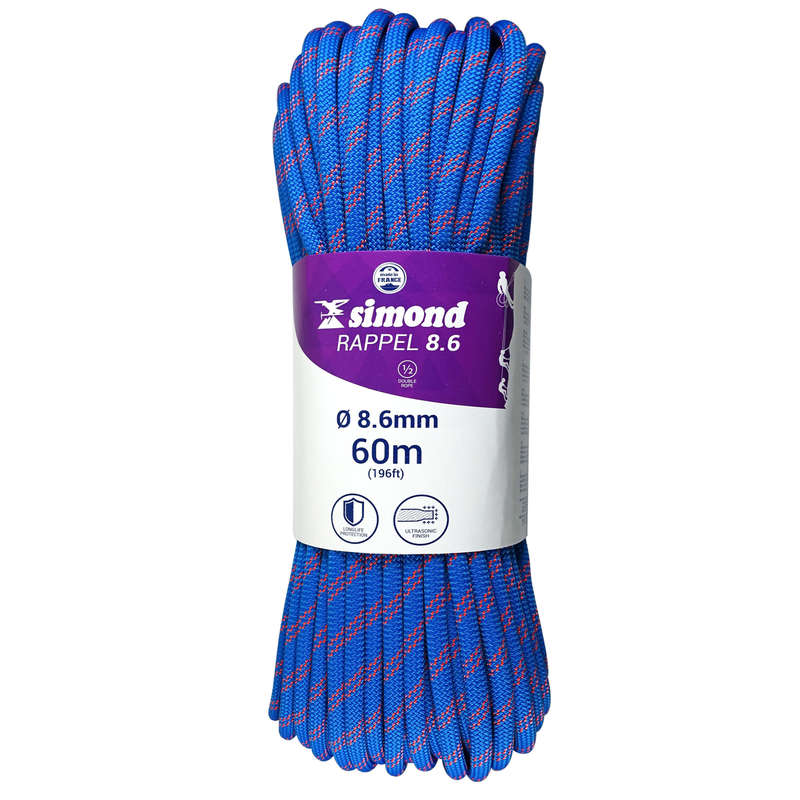 MOUNTAINEERING & MULTIPITCH ROPES Climbing - RAPPEL 8.6mm x 60m Blue SIMOND - Climbing