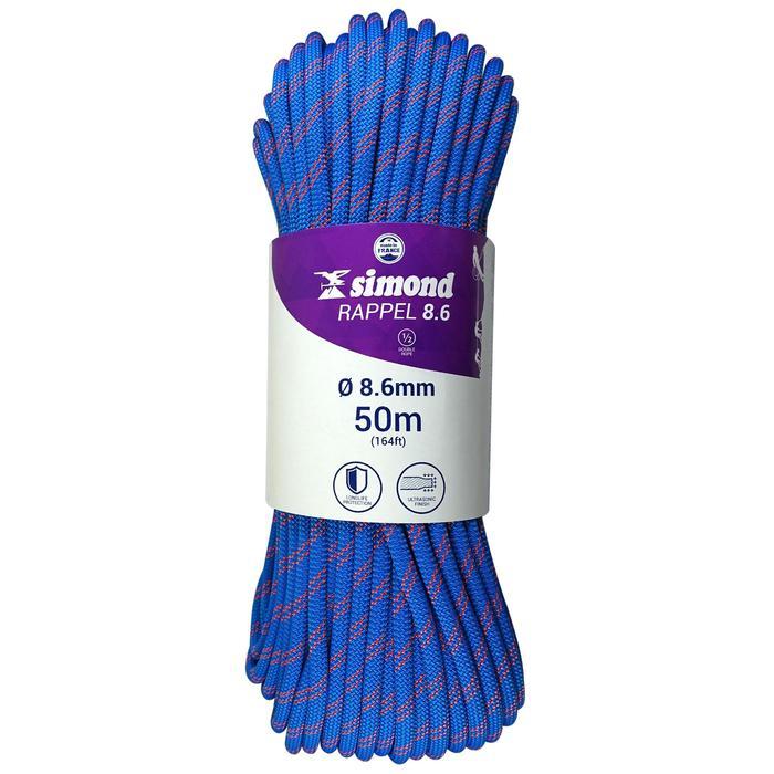 Corde à double d'escalade Rappel 8.6mm x 50m Bleu