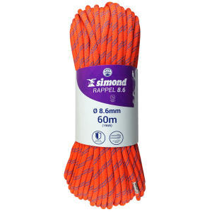 corde rappel 8.6 60m orange simond 2018
