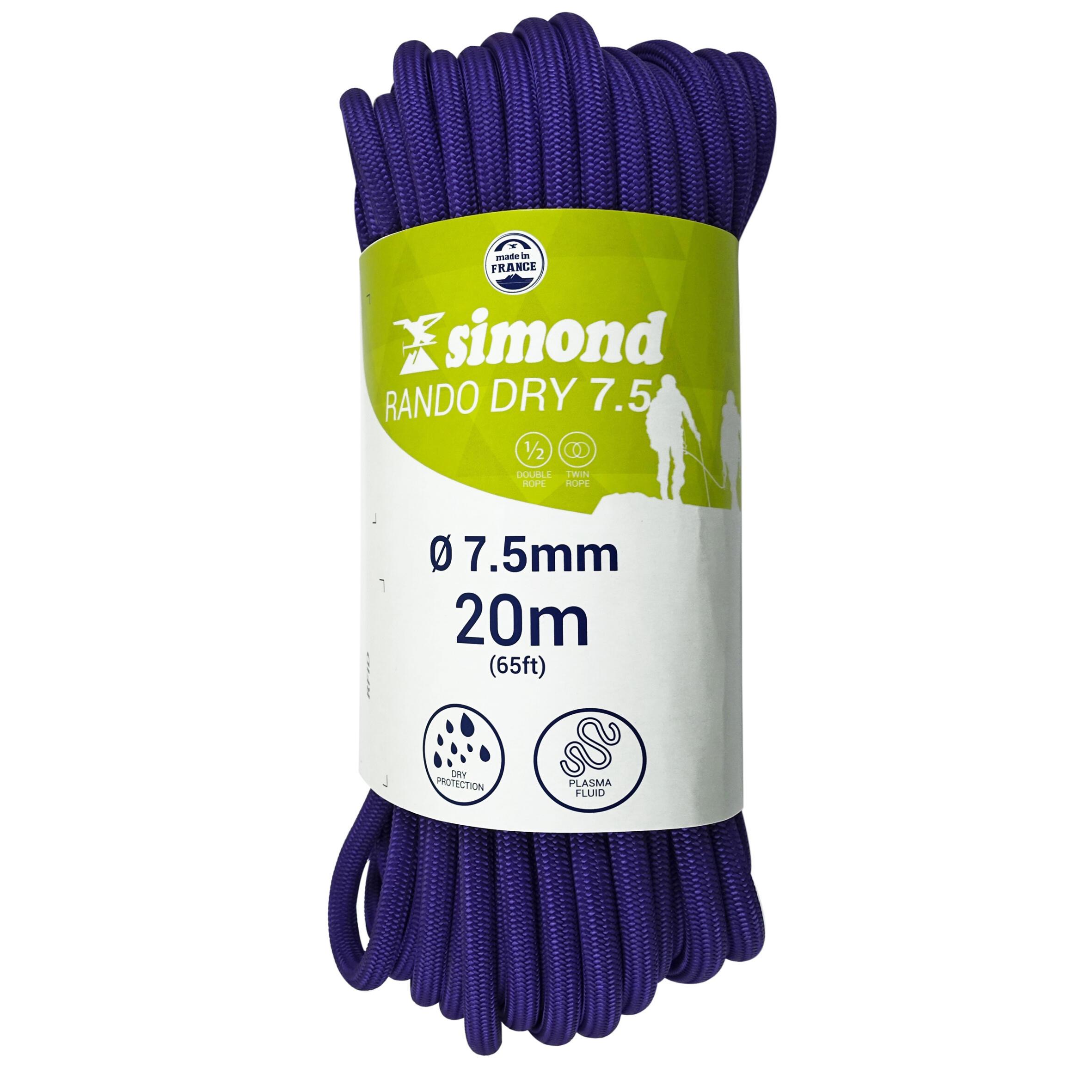 CORDE RANDO SEC 7,5mm x 20m violette