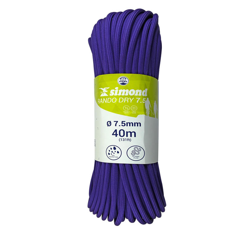 DOUBLE DRY CORDE 7.5 mm x 40 m - RANDO DRY purple