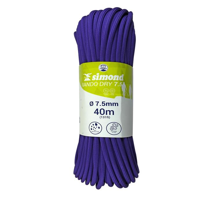CORDE A DOUBLE DRY 7.5 mm x 40 m - RANDO DRY violette