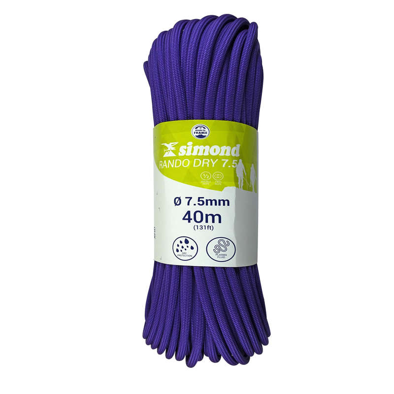 MOUNTAINEERING & MULTIPITCH ROPES Climbing - Rando Dry 7.5 mm x 40m Purple SIMOND - Climbing