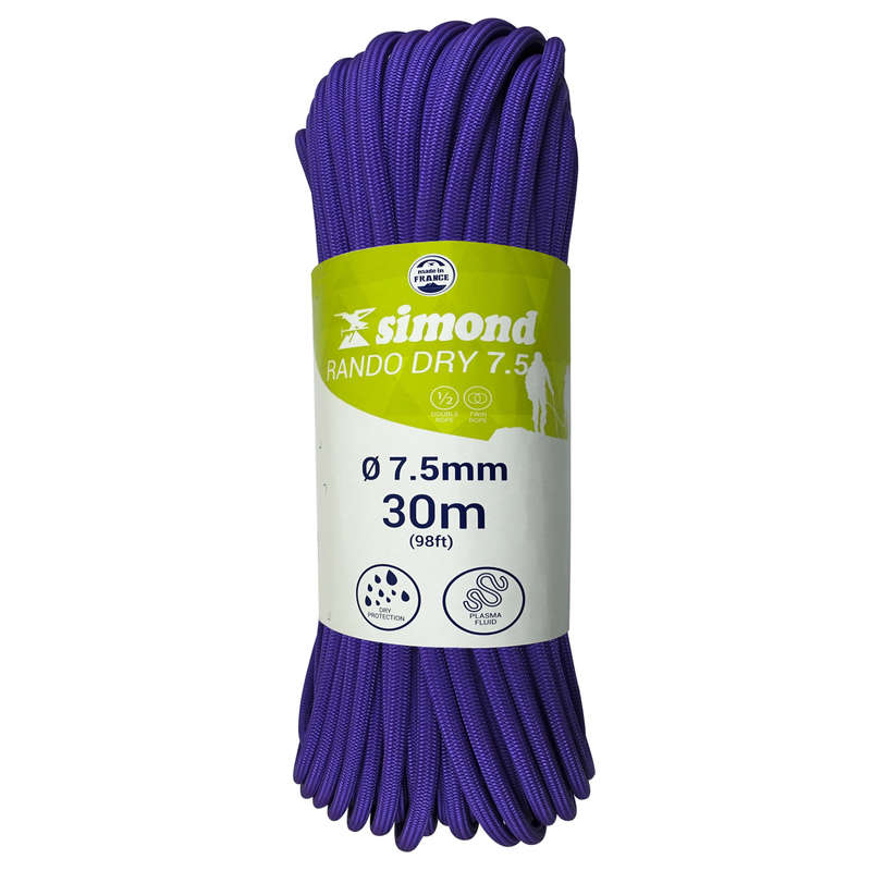MOUNTAINEERING & MULTIPITCH ROPES Climbing - Rando Dry 7.5 mm x 30 m Purple SIMOND - Climbing