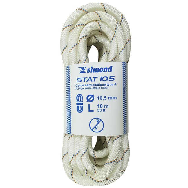 Semi-Static Rope 10.5 mm x 10 m - Stat 10.5 White