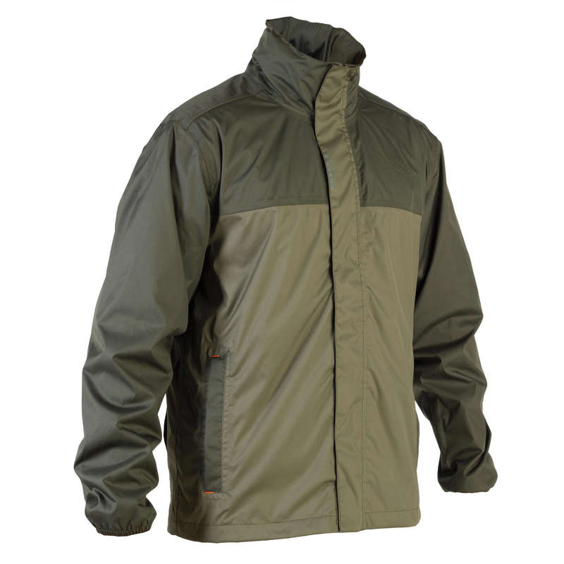 WATERPROOF CLOTHING Shooting and Hunting - W / P JACKET 100 GREEN SOLOGNAC - Hunting and Shooting Clothing