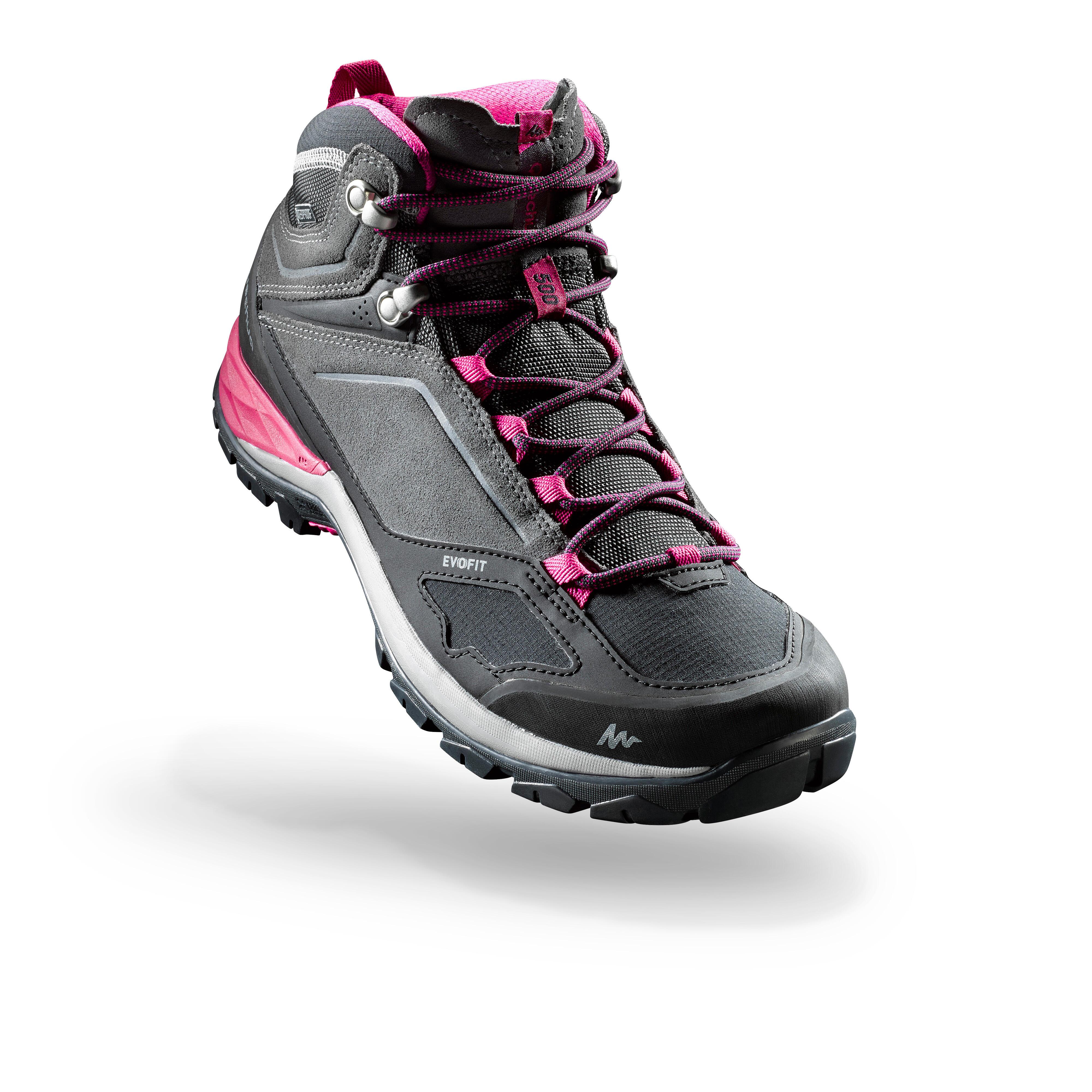 Chaussures de randonnée montagne femme MH500 Mid imperméable Gris/Rose