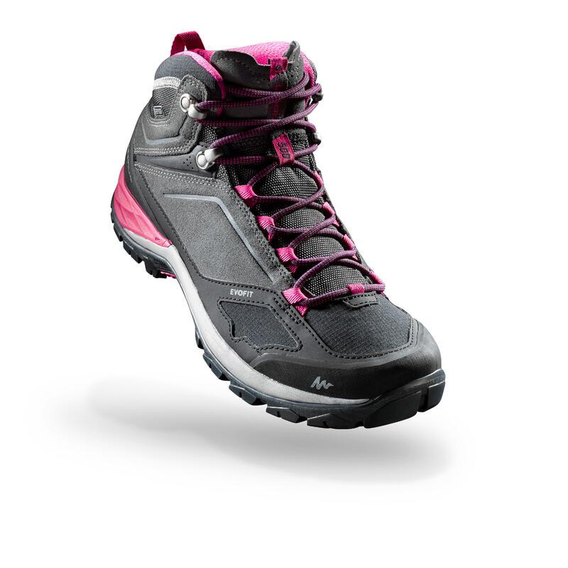 Women's waterproof mountain hiking shoes - MH500 Mid - Pink/Grey