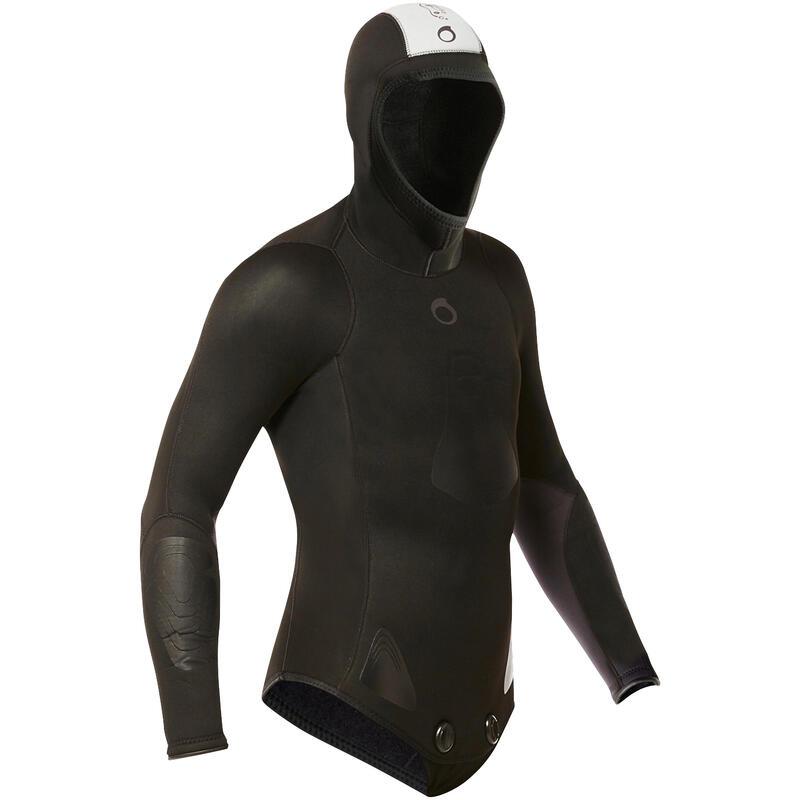 Plush neoprene spearfishing wetsuit jacket SPF100 5 mm for warm water