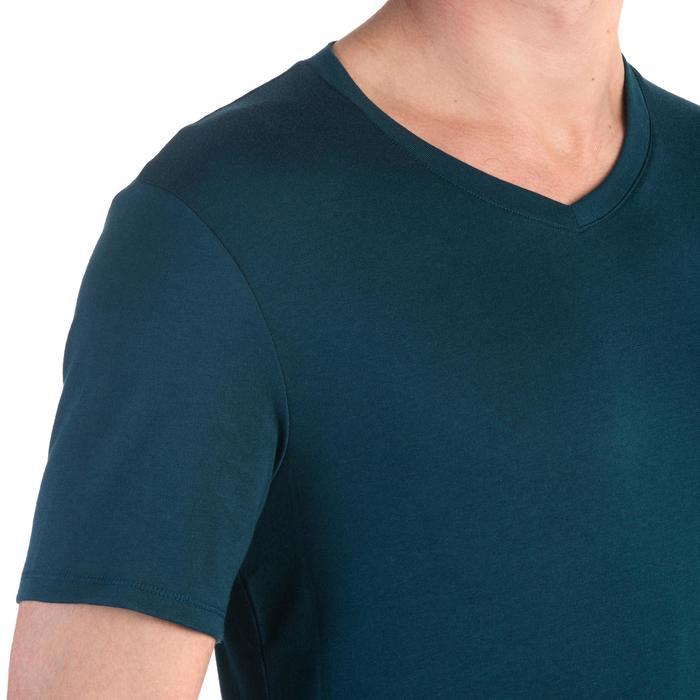 T-shirt 500 col V slim Gym Stretching homme - 1331886