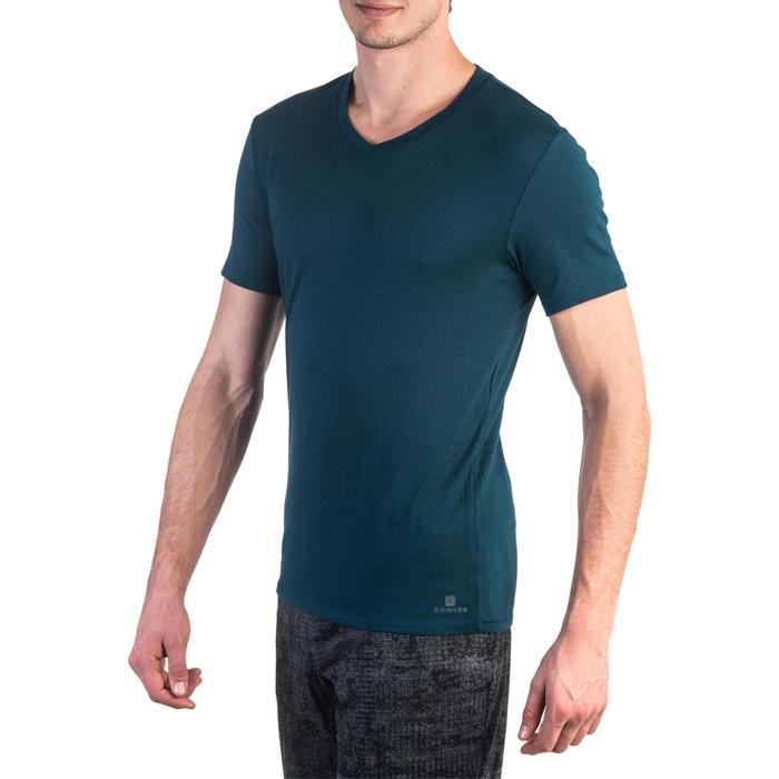 T-shirt 500 col V slim Gym Stretching homme - 1331888