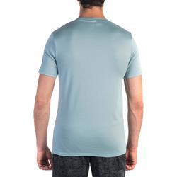 Camiseta 500 slim cuello de pico gimnasia y pilates hombre azul gris