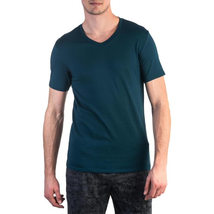 T-shirt 500 col V slim Gym Stretching homme - 1331907