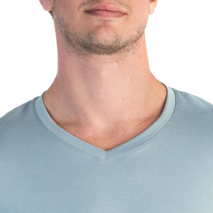 T-Shirt Gym 500 Slim V-Ausschnitt Herren Fitness blau/grau