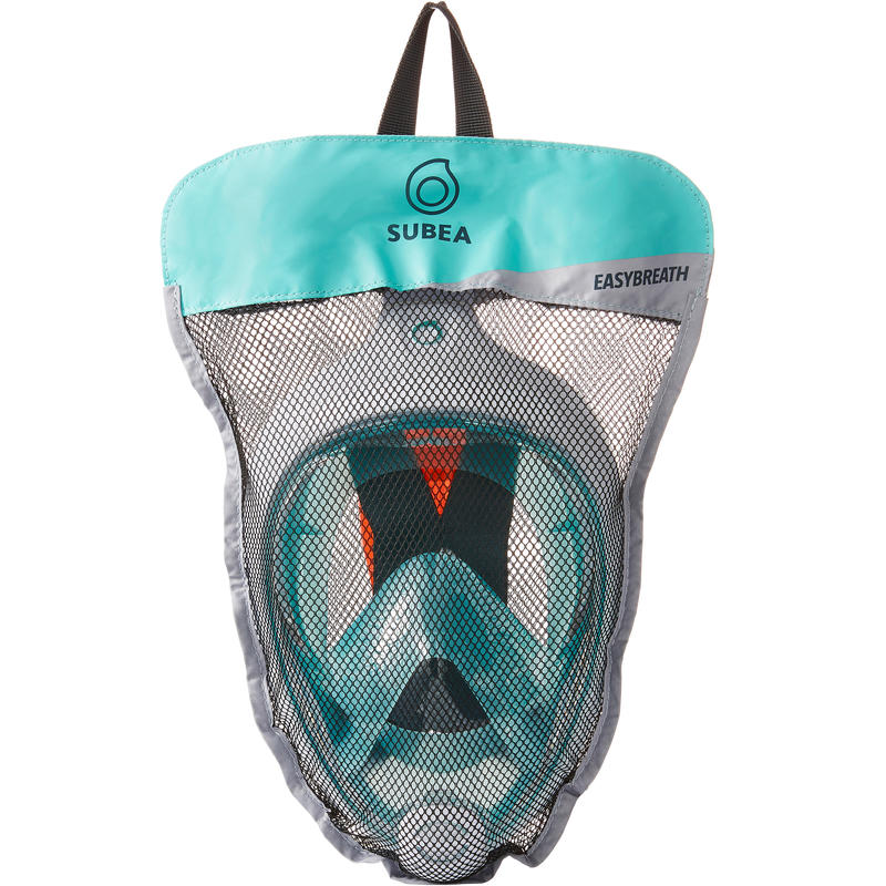 Máscara de snorkel en superficie Easybreath azul turquesa