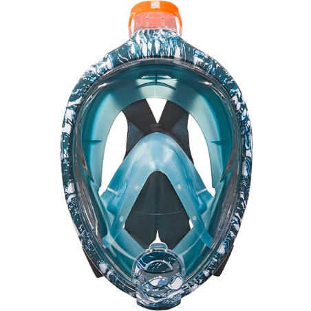 Masker snorkeling permukaan Easybreath motif Oyster turquoise