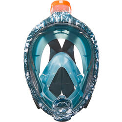 浮潛面鏡Easybreath-淺碧藍色/牡蠣印花