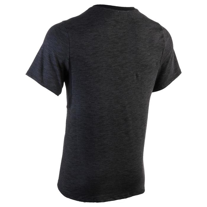 Heren T-shirt 520 voor gym en pilates, regular fit, V-hals, zwart met opdruk