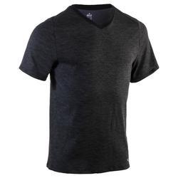 T-Shirt 520 regular col V Gym & Pilates homme bleu britanny print