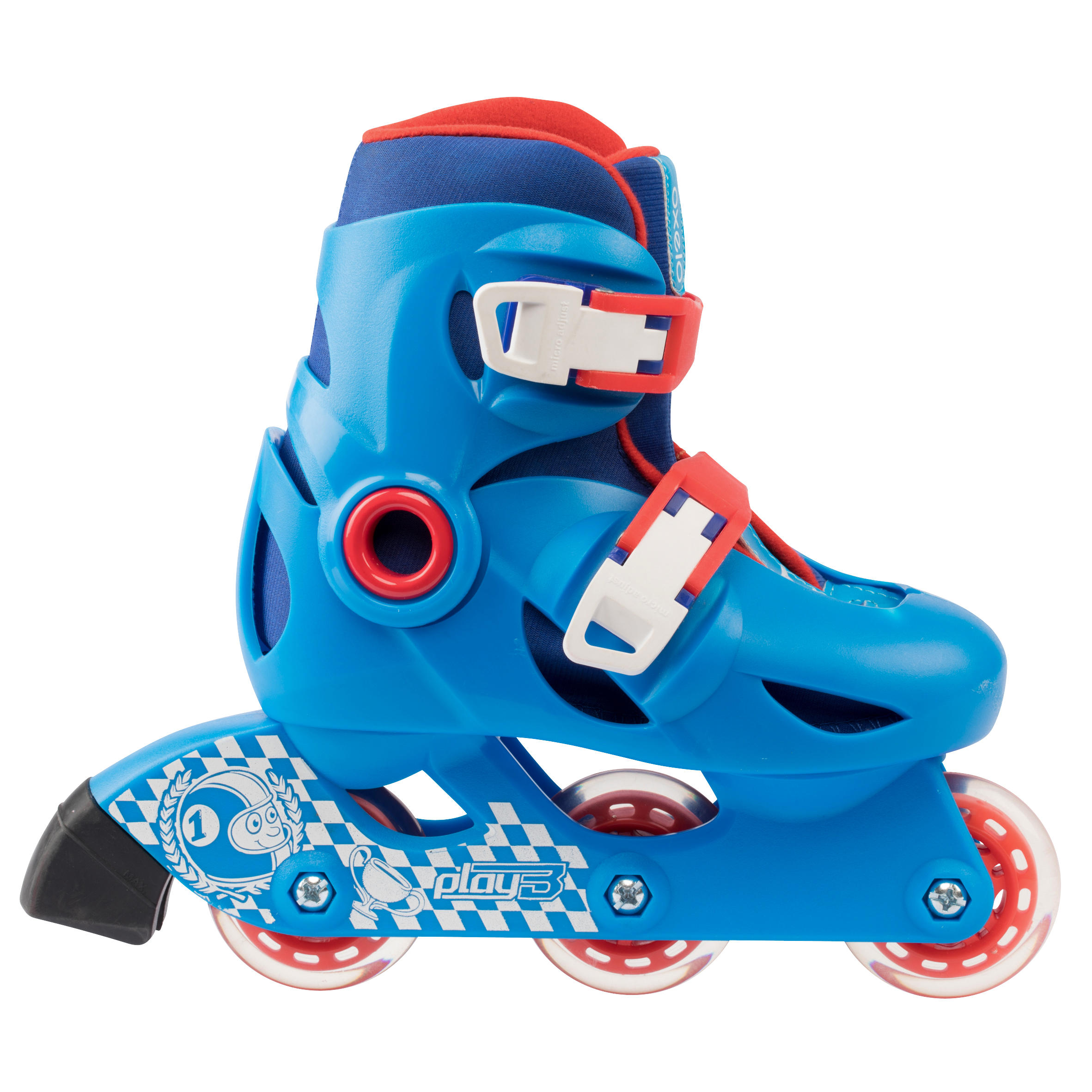 KIDS INLINE ROLLER SKATES PLAY 3 BLUE/RED