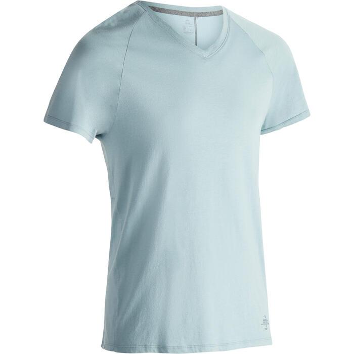 Heren T-shirt 900 voor gym en pilates slim fit blauw grijs