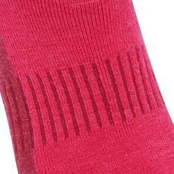 Chaussettes de randonnée neige adulte SH500 ultra-warm mid roses.