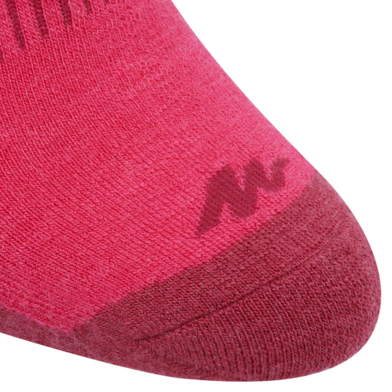 Calcetines de hiking nieve adulto SH500 ultra-warm mid rosado.