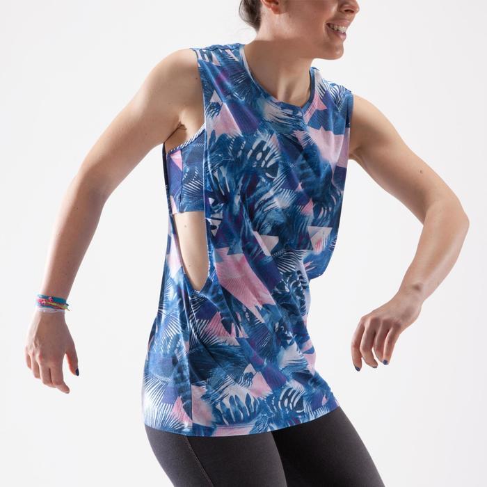 Camiseta sin mangas de danza mujer estampado azul y blanco