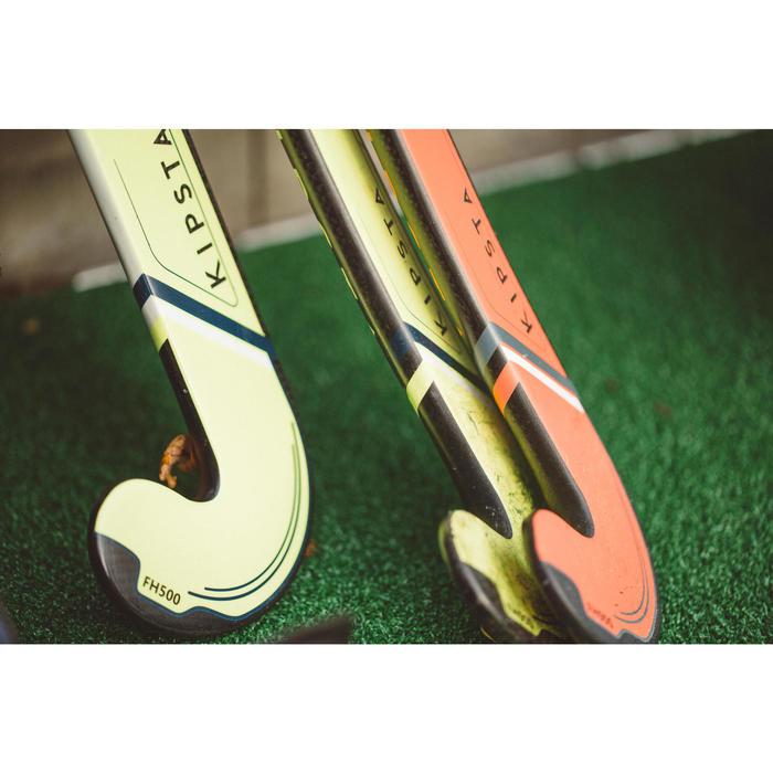 Veldhockeystick voor ervaren volwassenen mid bow 50% carbon FH500 geel