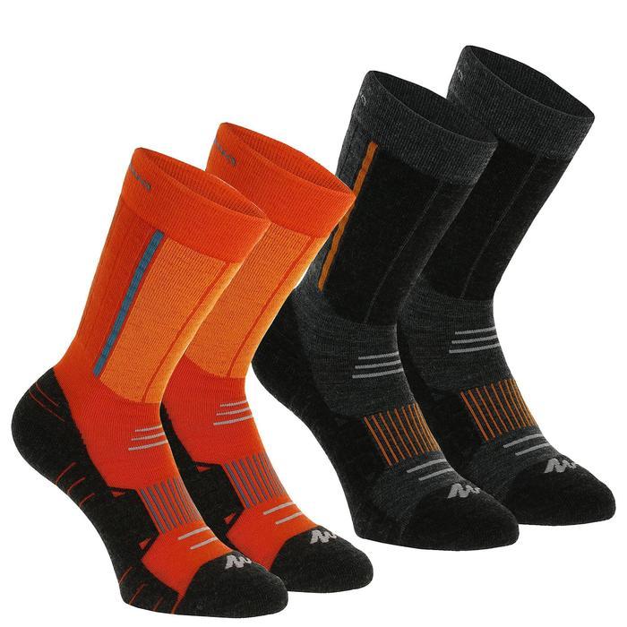 Chaussettes de randonnée neige enfant SH500 active chaudes Rouge et Noir