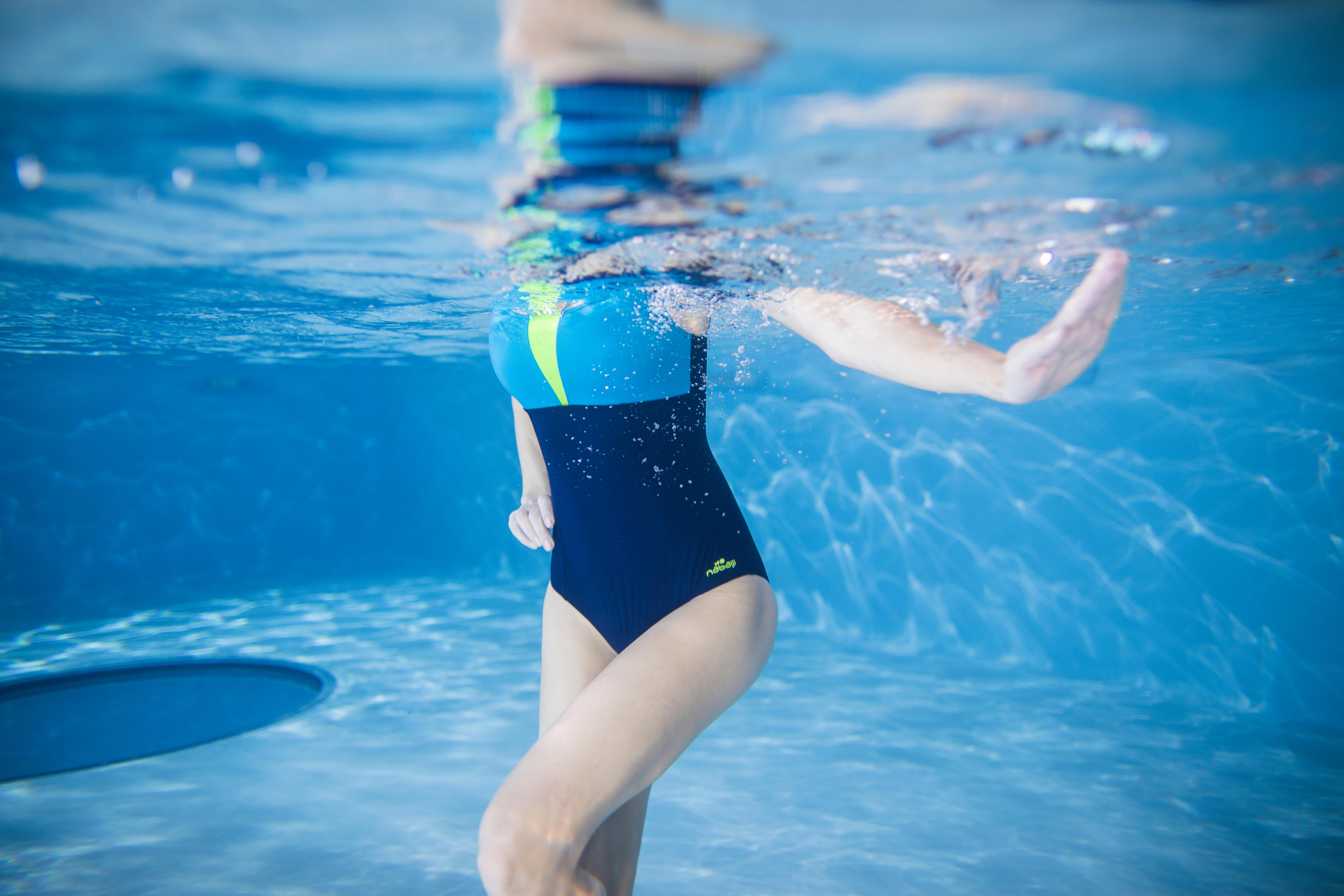 Maillot de bain d'aquagym femme une pièce Karol Bleu Jaune