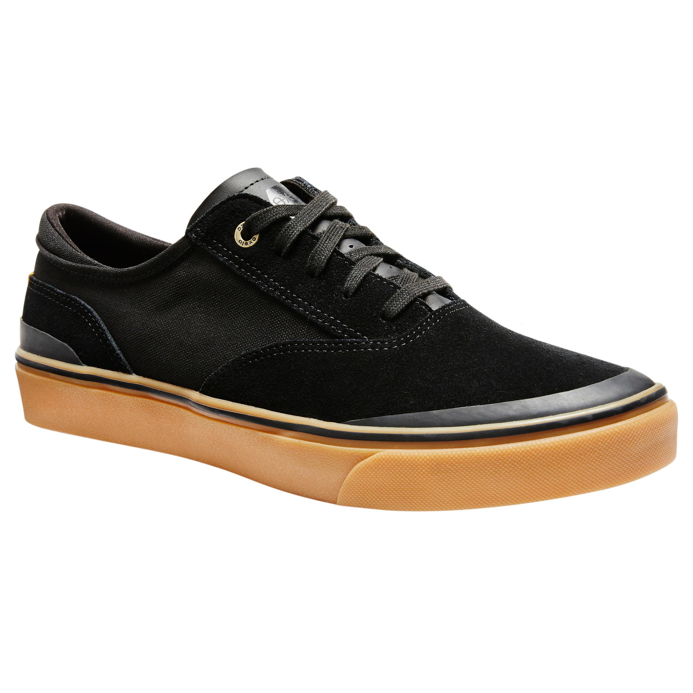 Chaussures basses de planche à roulettes adulte VULCA 500 noire / gomme