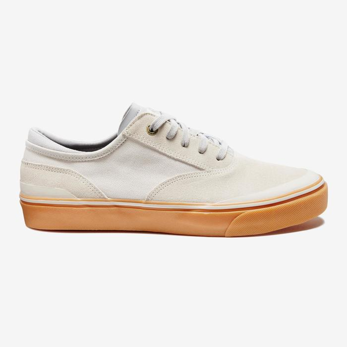 Chaussures basses de skateboard adulte VULCA 500 crème