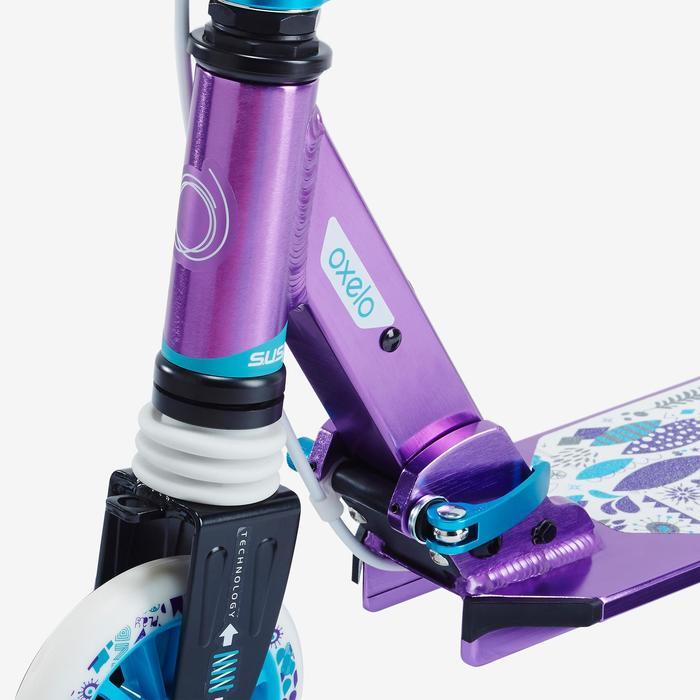 Fun-Scooter Mid 5 mit Federung und Lenkerbremse Kinder violett