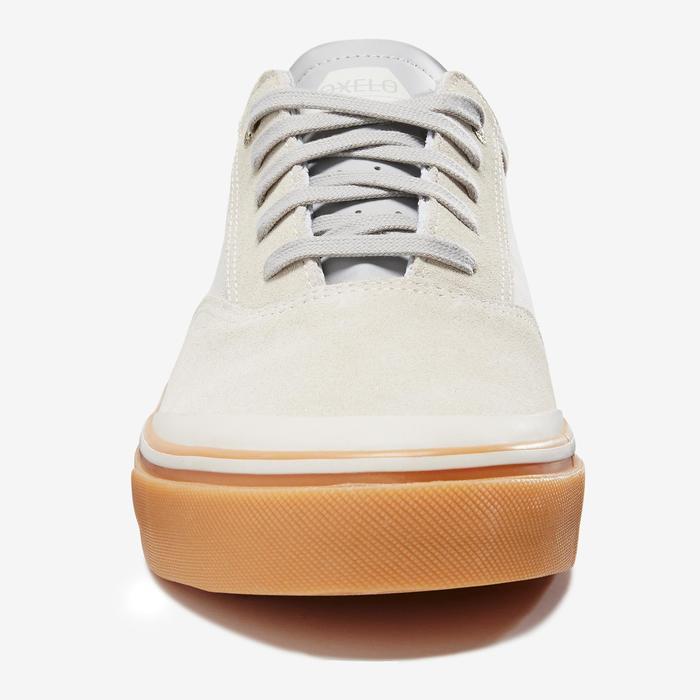 Chaussures basses de skateboard adulte VULCA 500 Créme, semelle gomme