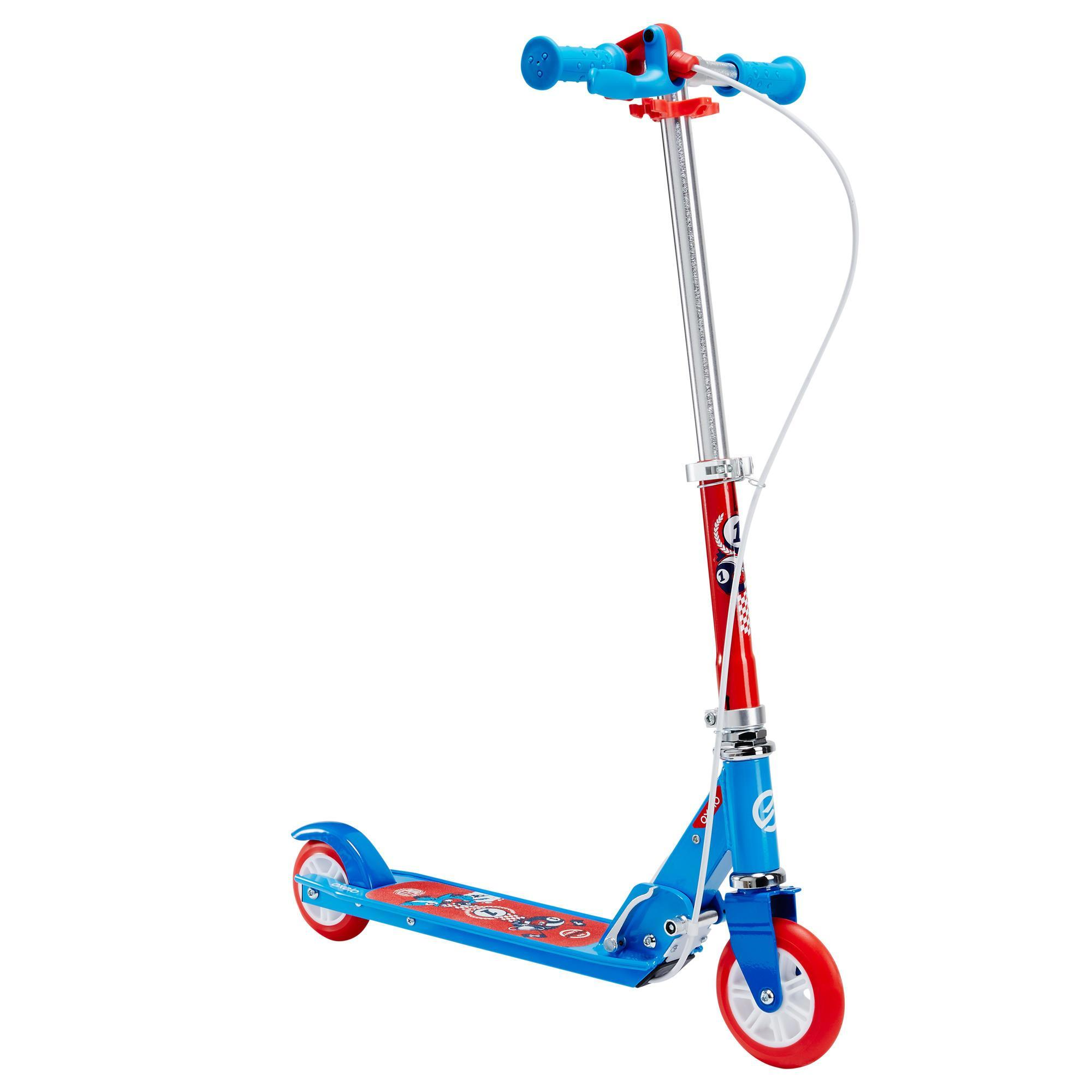 play 5 children 39 s scooter with brake blue oxelo. Black Bedroom Furniture Sets. Home Design Ideas