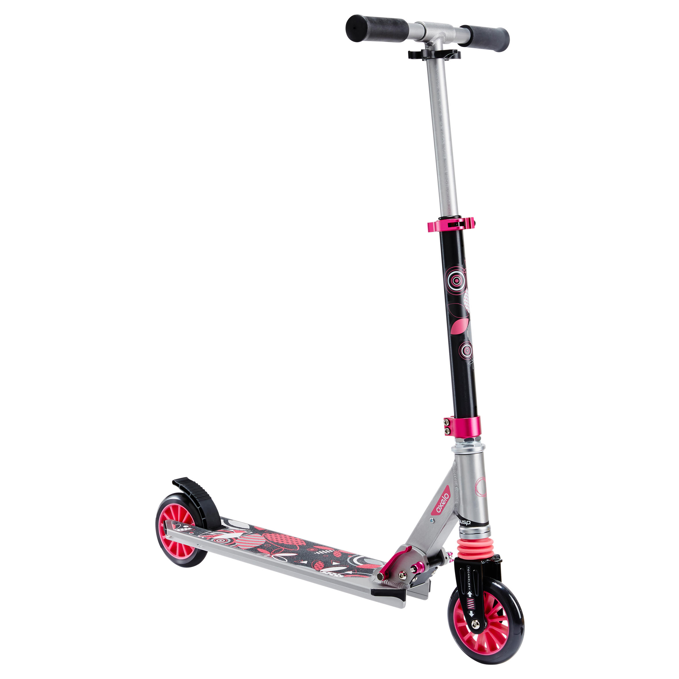 Mid 3 Kids' Scooter with Suspension - Grey/Pink
