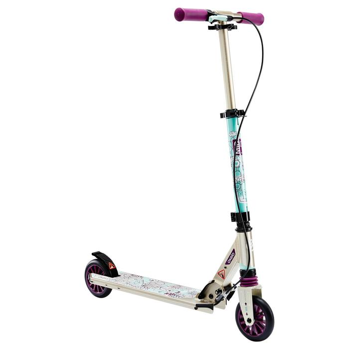 oxelo trottinette enfant mid5 avec frein au guidon et suspension violette decathlon. Black Bedroom Furniture Sets. Home Design Ideas