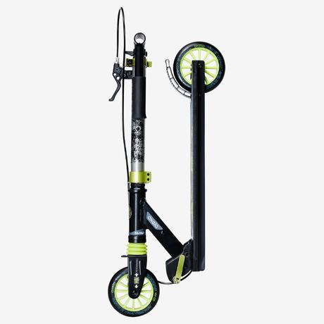 trottinette enfant mid5 avec frein au guidon et suspension noire verte oxelo. Black Bedroom Furniture Sets. Home Design Ideas