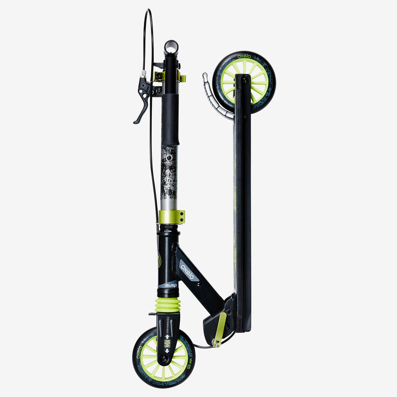 Kids' Scooter MID 5 with Handlebar Brake and Suspension - Black/Green