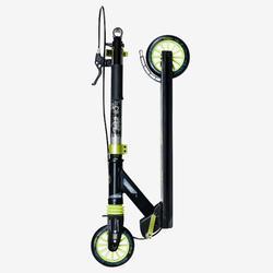 Kinder-Scooter Mid 5 mit Federung und Lenkerbremse Kinder schwarz/grün