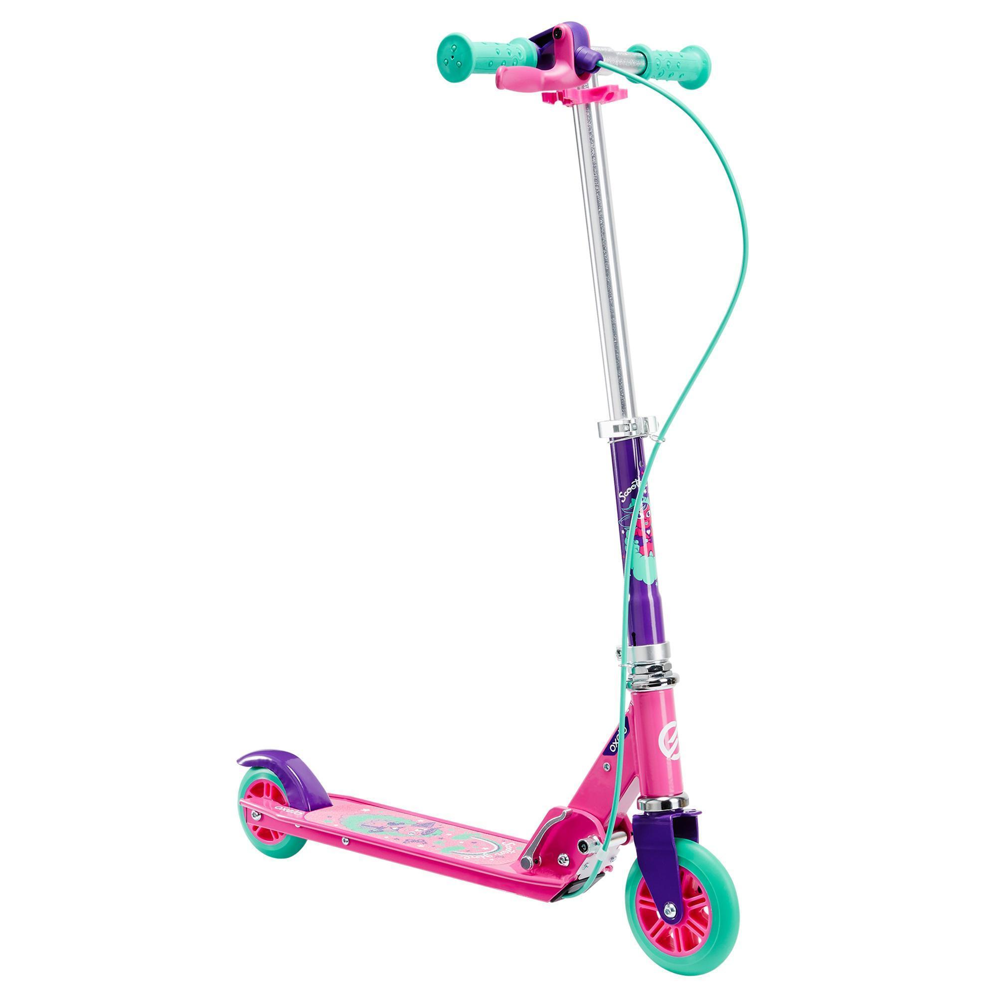 play 5 children 39 s scooter with brake purple oxelo. Black Bedroom Furniture Sets. Home Design Ideas