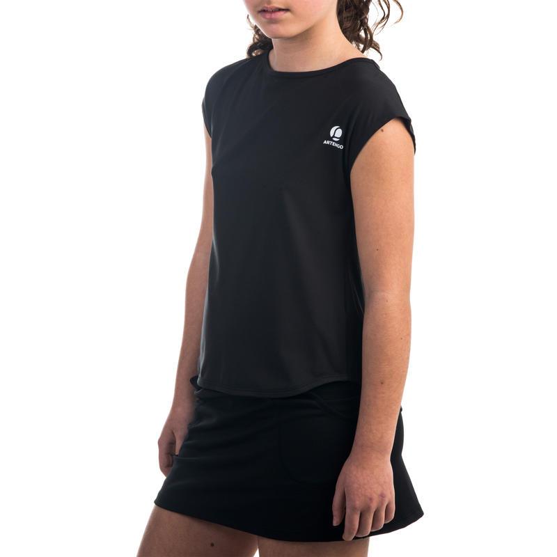Áo thun chơi tennis 500 cho bé gái - Đen