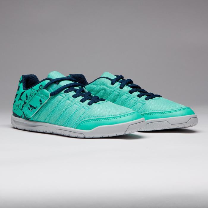 Chaussure de futsal enfant CLR 500 à scratch verte bleue