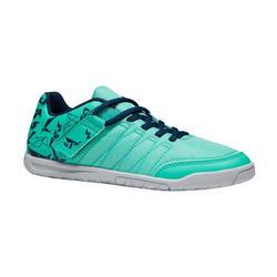 Zaalvoetbalschoenen voor kinderen CLR 500 klittenband groen blauw