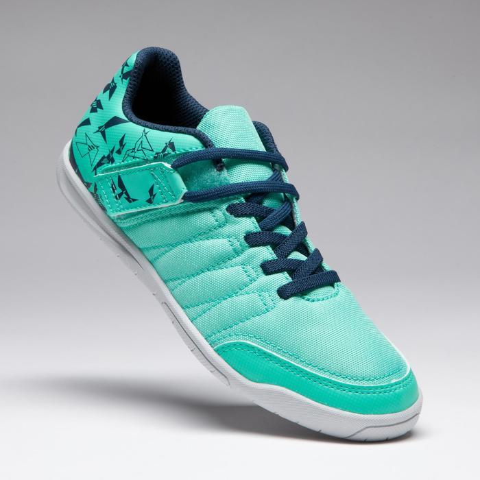 兒童款室內五人制足球鞋CLR 500-藍綠配色
