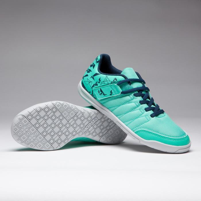 Zapatillas de fútbol sala niños CLR 500 tira autoadherente verde azul